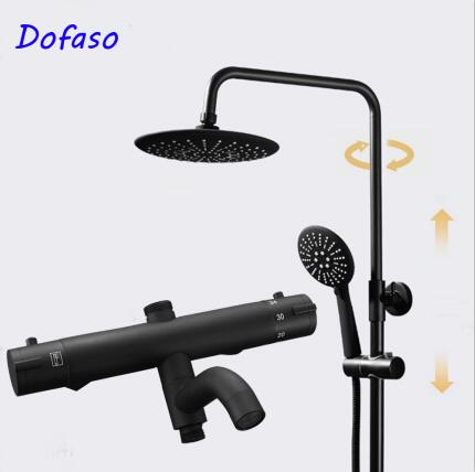 Dofaso Antique Thermostatic Faucets Black Shower Set 8 Inch Bathroom Rainfall Shower Faucet Set With Handheld Shower Head california faucets craftsman styledrain set with 2 ips black