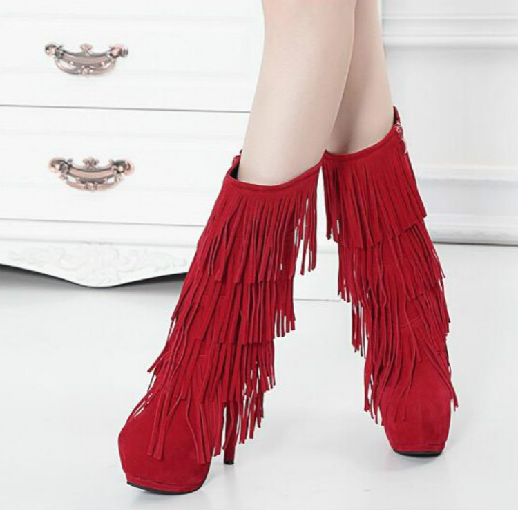 2015 new winter boots fringed boots high with fine with waterproof nightclub queen sexy boots naked boots