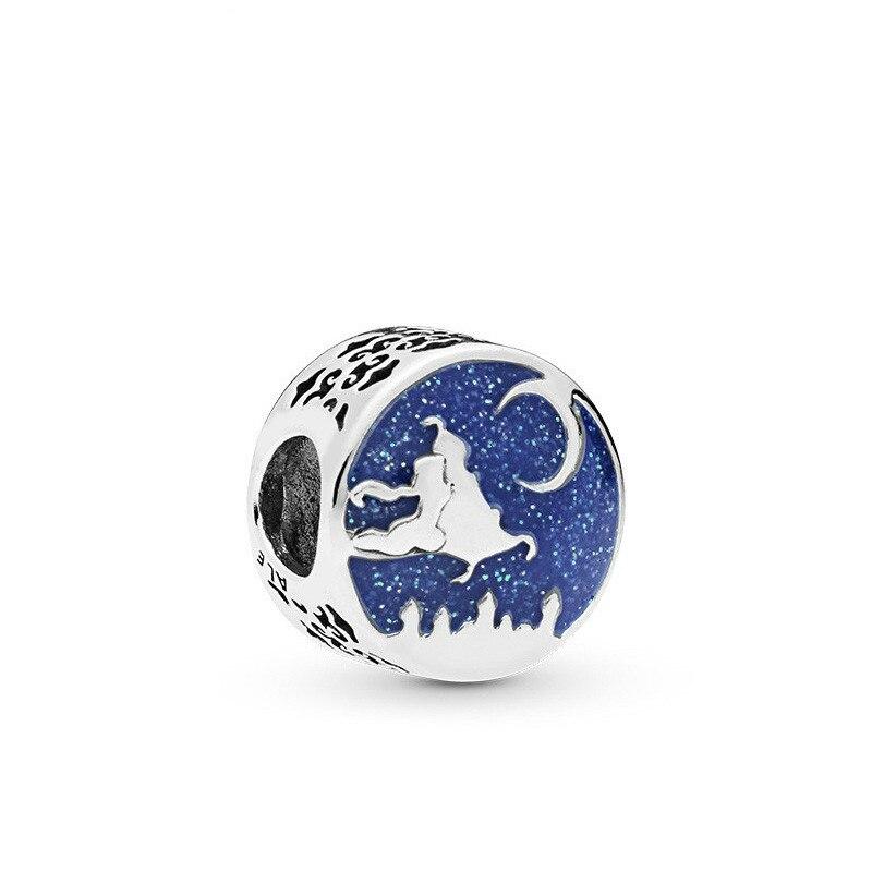 5PCS-Htevak-Original-Silver-Charm-Blue-Enamel-Magic-Flying-Carpet-Moon-Magician-Round-Bead-Fit-Pandora