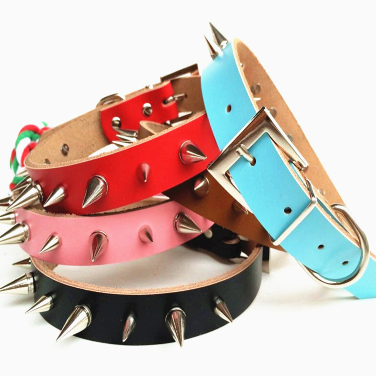 New Adjustable PU Leather Rivet Punk Spiked Studded Pet Puppy Dog Collar Neck Strap 5 colors Wholesale
