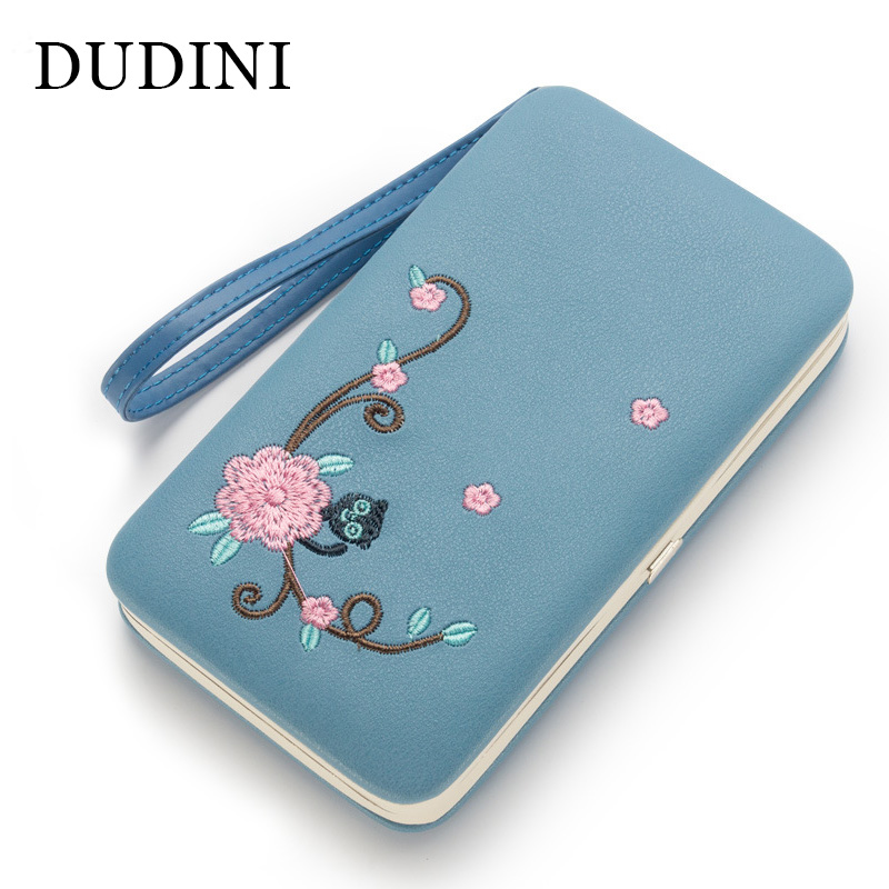 DUDINI Korean Women Money Wallets Embroidery Ladies Clutch Mobile Phone Bag Wallet Long Multifunctional Card Holder Coin Purse leory micgeek mi520 multifunctional karaoke sing microphone change dsp mobile national broadcast singing mobile phone card