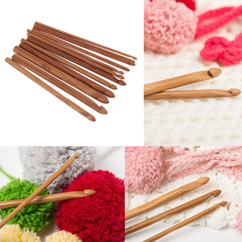 12 Sizes set Handle Crochet Hook Bamboo Knitting Knit Needle Weave Yarn Set Crafts Yarn Tools hot search