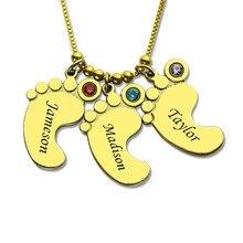 купить StrollGorl Authentic 925 Sterling Silver Engraved Name Neckalce Personalized Mother's Necklace Baby Feet Charm Custom Jewelry по цене 1449.93 рублей