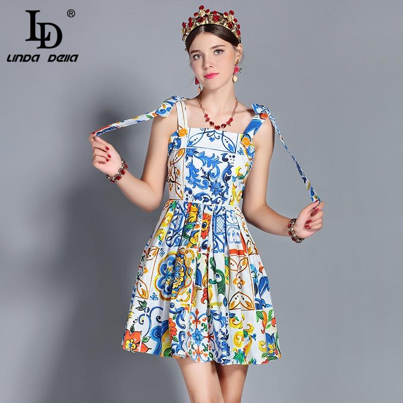 LD LINDA DELLA Fashion Runway Summer Dress Women s Bow Spaghetti Strap Backless Casual Floral Print