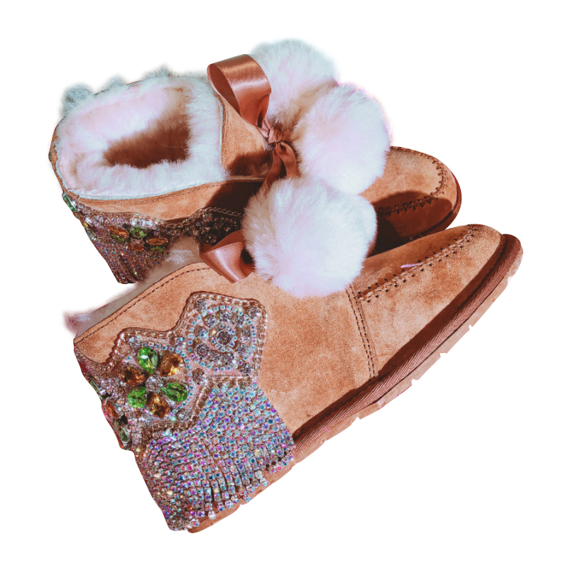Handmade Rhinestones Women Warm Fur Balls Snow Boots 2018 Fashion Bling Diamond Tassels Flat Ankle Boots Winter Shoes Woman tassels feather crystal rhineston snow boots woman winter luxury women s bling bling snow boots warm shiny fashion winter shoes