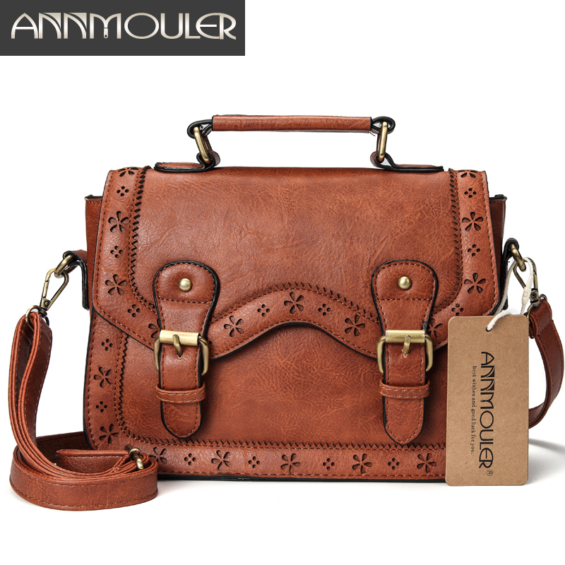 Annmouler Brand Women Satchel Bag Vintage Shoulder Bags Brown Hollow Out Crossbody Messenger Bag Small Briefcase for Ladies retro british school women messenger bag embossed hollow out shoulder briefcase department of forestry casual satchel