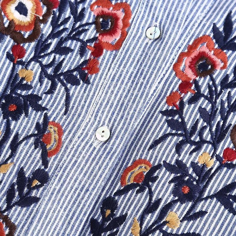LERFEY Ženska majica za vezenje cvjetne bluze Ruffles Uredske - Ženska odjeća - Foto 2