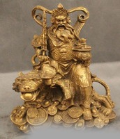 18 China Chinese Brass Stand Dragon Warrior Guan Gong Yu God & Sword Statue