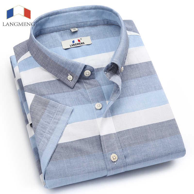 Langmeng ブランド New コットンリネン夏スリムフィットカジュアルシャツ半袖ストライプシャツ社会男性ドレスシャツシュミーズオム