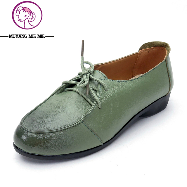 New Spring Women Genuine Leather Shoes Lace-up Moccasins Women Loafers Soft  Leisure Flats Female Casual Single Shoes Size 35-41