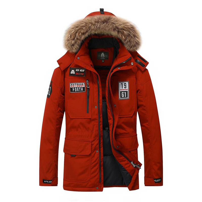 AFS JEEP di Marca anatra giù gli uomini giacca collo di pelliccia di Inverno degli uomini di spessore caldo uomo bianco anatra giù cappotto jaqueta masculina 8820A