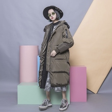 Street fashion classic solid color all-match bf lovers design patchwork maomao with a hood collar plus size long design wadded