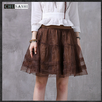 Vintage ruffles transparent tutu skirt women summer bodycon adult tulle mini skirt shorts runway lace up skirts womens flower