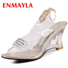купить ENMAYLA Peep Toe Shoes Woman High Heels Summer Sandals Wedges Shoes Transparent Shoes Fretwork Heels Women's Sandals по цене 1887.49 рублей