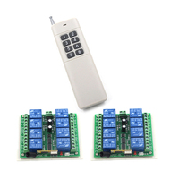 DC 12V 8CH RF Wireless Remote Control Switch System 315 433 MHZ 1 Transmitter And 2