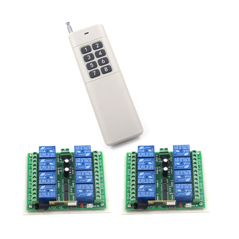 DC 12V 8CH RF Wireless Remote Control Switch System,315/433 MHZ 1 Transmitter And 2 Receiver 4108 wireless pager system 433 92mhz wireless restaurant table buzzer with monitor and watch receiver 3 display 42 call button