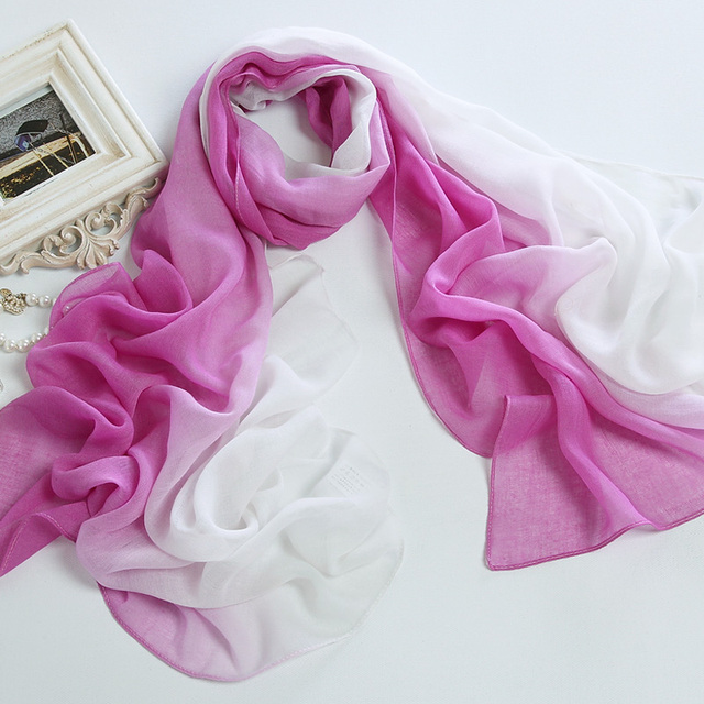 Gradient color scarf eco-friendly print scarf sun scarf silk scarf
