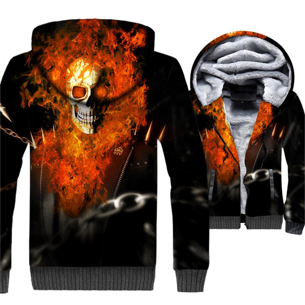Ghost Rider Skull 3D Print Hoodie Men Punk Hooded Sweatshirt Winter Thick Fleece Warm Zip up Coat Swag Jacket Hip Hop Streetwear