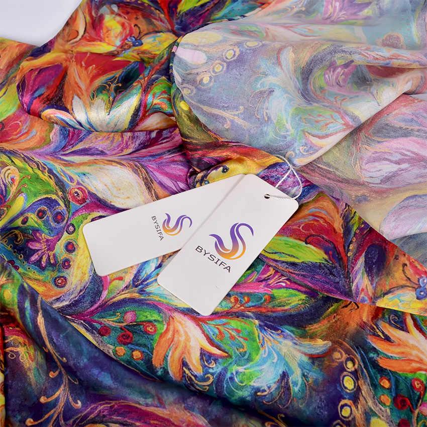 [BYSIFA] New Luxury Puro Sciarpa Di Seta Dello Scialle Delle Donne di Autunno della Molla Lungo Sciarpe Delle Signore di Marca di 100% di Seta della Sciarpa di Collo foulard 175*52 centimetri