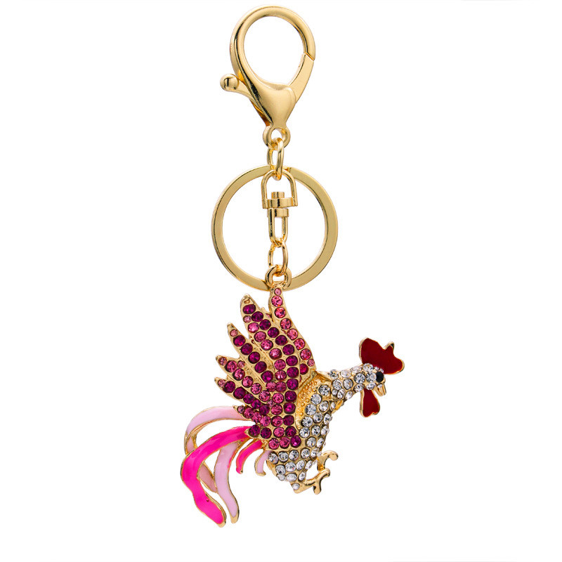 2017 Beautiful Chic Protein Crystal Rooster Key Buckle for Women Girl Bag Children Bag Charm Keychain Pendant Jewelry Gift