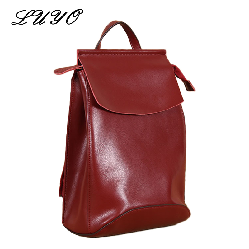LUYO Brand Casual Genuine Leather Function All-match Travel Backpack Youth Women Cowhide School Bags Sac A Dos Book luyo 100% soft genuine leather women backpack for girls youth woman ladies laptop bag daily backpack school sac a dos travel