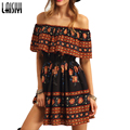 Laisiyi Ruffles Slash Neck Women Split Boho Paisley Print Dress Summer Off Shoulder Dresses Vestidos White Tube Beach ASDR20083