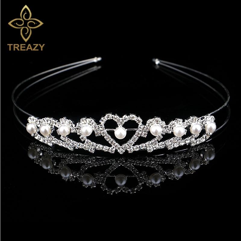 Wedding Party Girl Child Flower Crystal Diamante Heart Crown Tiara Hairband