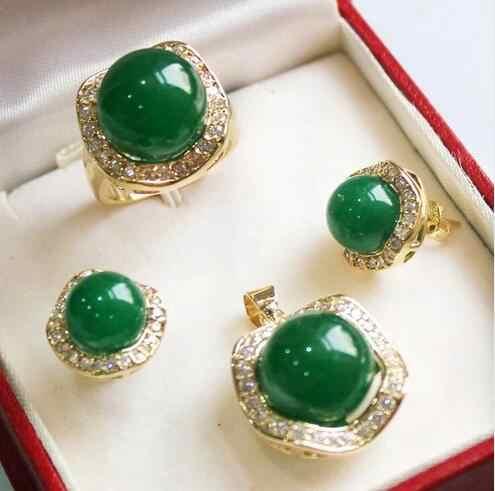 תכשיטי יוקרה משלוח חינם יפה מזל אדום ירוק אבן מעטפת פרל תליון עגילי טבעת סט עם קופסא