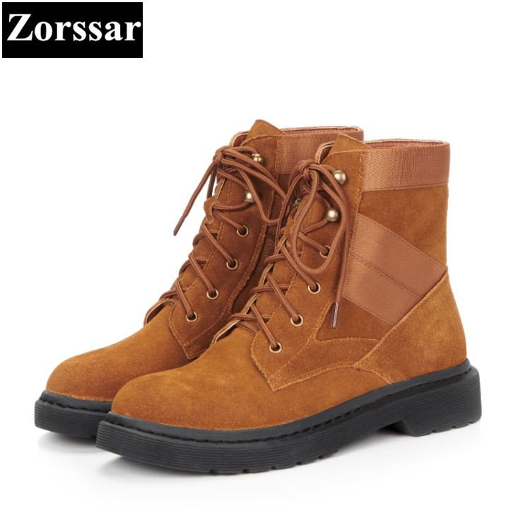 {Zorssar} 2017 NEW hot autumn winter Woman shoes Fashion Cow Suede ankle boots Female Casual  Flats heel lace up Martin boots zorssar 2018 woman fashion genuine leather ankle martin boots female slip on flat heel casual short shoes spring autumn shoes