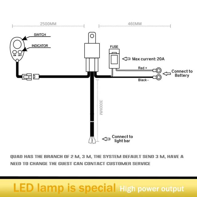 LED Light Bar Wiring Harness for OFF Road Jeep SUV Boat ATV ... on led connection diagram, led rgb color codes, led light headlight, led rope lights, 12v switch diagram, led light installation diagram, led 110v wiring-diagram, led blinker diagram, led light generator, led wiring guide, led light fuse, led trailer light diagram, led light controller, led flashlight parts diagram, led push button switch wiring, led light hookup diagram, led light transmission, led driver diagram, led load equalizer wiring diagrams, led light schematic,
