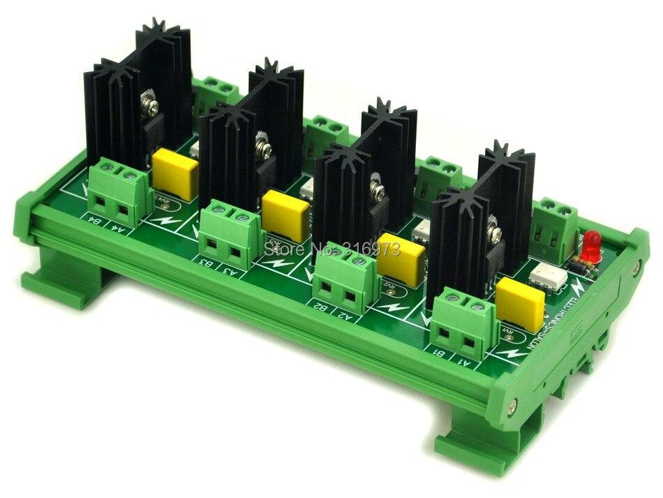 DIN Rail Mount 4 Channel 6 Amp SSR Module Board, in 4~32VDC, out 100~240VAC.DIN Rail Mount 4 Channel 6 Amp SSR Module Board, in 4~32VDC, out 100~240VAC.