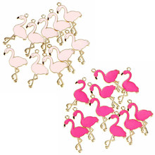 10pcs Trendy Alloy Flamingo Squirrel Enamel Charms Lovely DIY Pendant Handmade Jewelry For Necklace Bracelet(China)