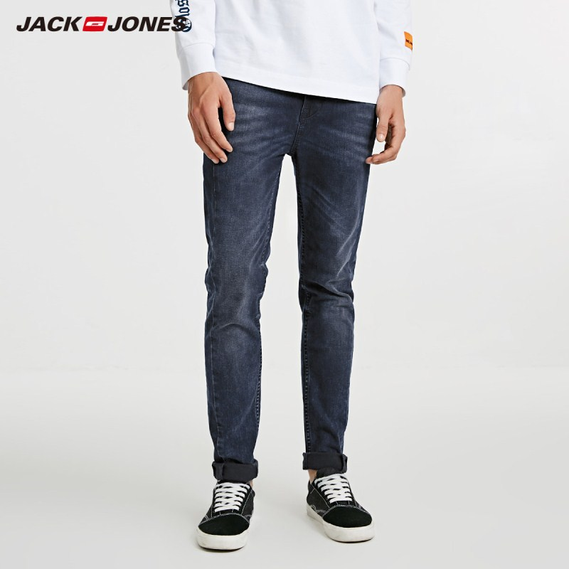 JackJones 2019 Men's Skinny Tight-leg Dark Color Stretch Jeans G|218332554(China)