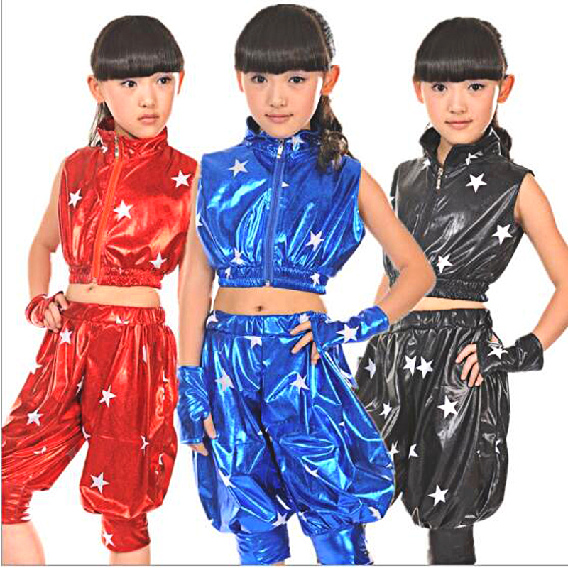 Classic Jazz Dance Suit for Kids Boys Girls Five Stars Image Patent Leather Jazz Clothes Christmas New Year Party Club Costumes