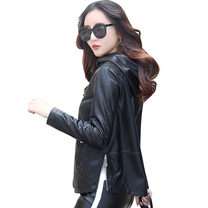 plus size autumn Winter Women Faux   Leather   Clothing Hooded Slim Female short Jacket femela   leather   Zipper Coat outerwear QH0686