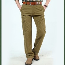 sSpring And Autumn Period Pockets Casual Pants Straight Men's Zipper Fly Cotton Pants Big Yards  недорого