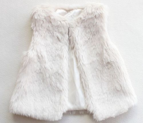 816bb46961fc Baby Little Girls Fur Vest White Fashion Faux Fur Outerwear Coats ...