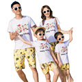 2017 Holiday Summer Family Matching Outfits Flower cotton mother daughter father son clothes sets T shirt + Pants
