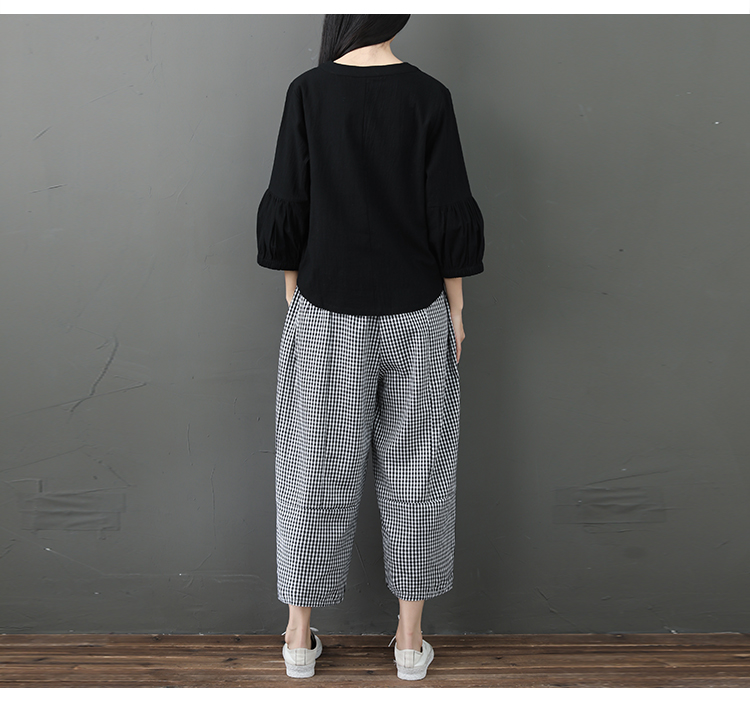 Spring Summer Cotton Linen 2 Piece Sets Women V-neck Blouses And Plaid Wide Leg Pants Suits Casual Loose Fashion Women's Sets 37