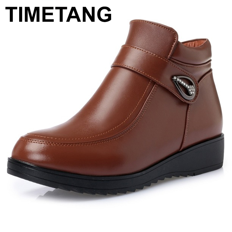TIMETANG Woman Genuine Leather Boots Fashion Ankle Boots Female Wedges Platform Shoes Fur Winter Snow Boots