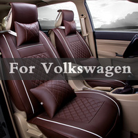 Pu Leather Car Seat Covers Universal Full Synthetic Set Full Seat Covers For Volkswagen Beetle Bora Eos Fox Golf Gti Plus R