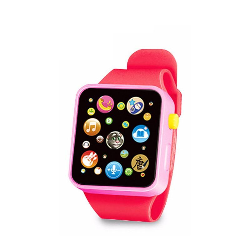 6 цветов, детская игрушка для раннего развития, наручные часы, 3D сенсорный экран, музыка, умное обучение, Лидер продаж, подарки на день рождения - Цвет: RED