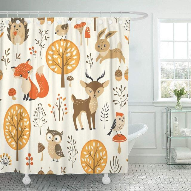 Shower Curtain With Hooks Woodland Autumn Forest Cute Animals Fox Owl Fall Bunny Hedgehog Leaves Wood Decorative Bathroom