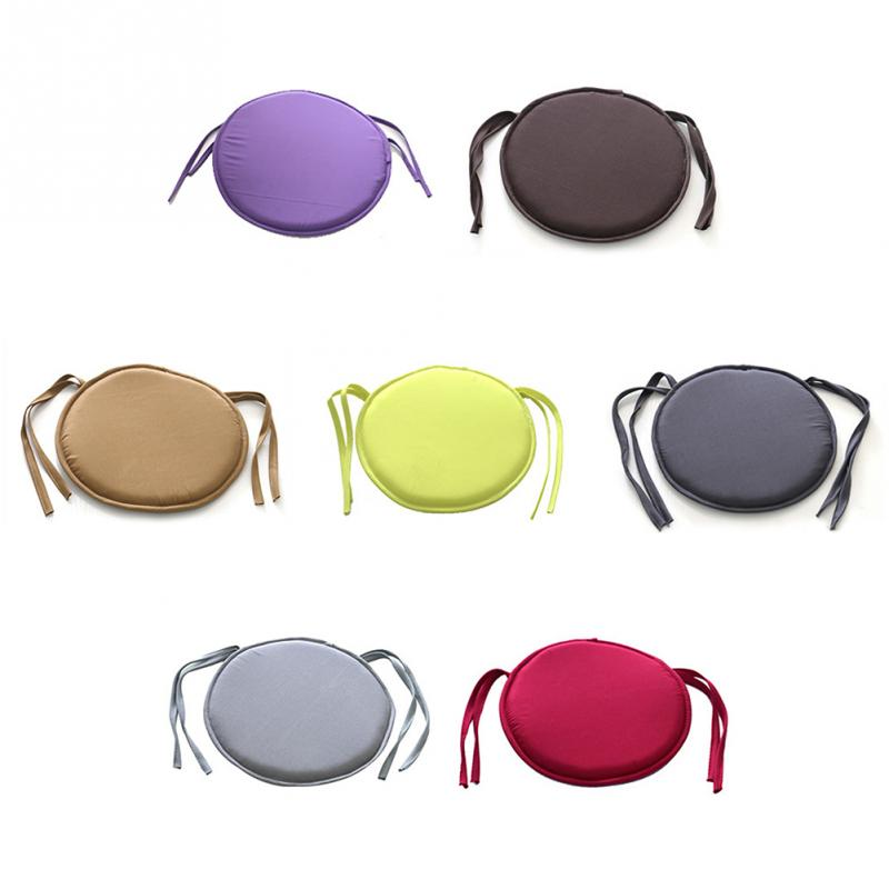 38cm X 38cm Simple Style Portable Indoor Dining Garden Patio Home Office Kitchen Round Chair Seat Pads Cushion With Four Ties