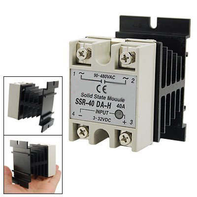 IMC Hot DC to AC Single Phase Solid State Relay SSR-40DA 40A 90-480V AC+Heat Sink ssr 40da single phase solid state relay white silver