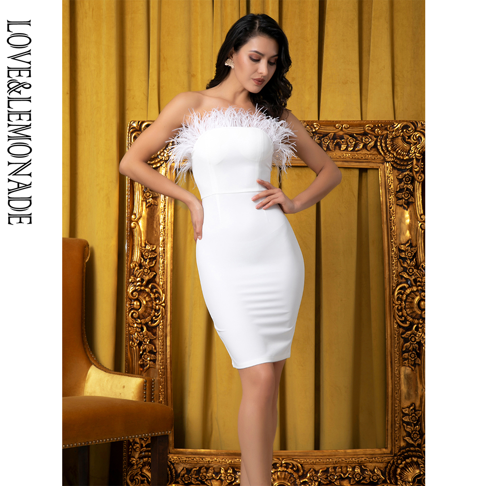 LOVE&LEMONADE Sexy White Tube Top Feather Bodycon Party Dress LM81737