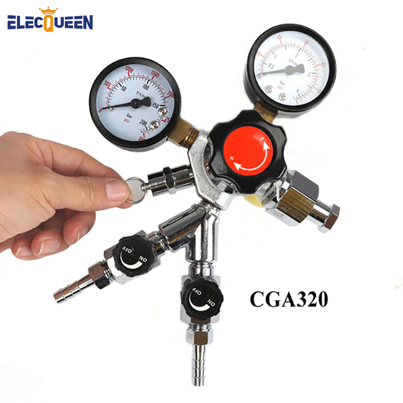 CO2 Dual Gauge Regulator ,CGA320 Economical homebrew with Y splier and two Checkvalve, 0~3000psi, 0~60psi
