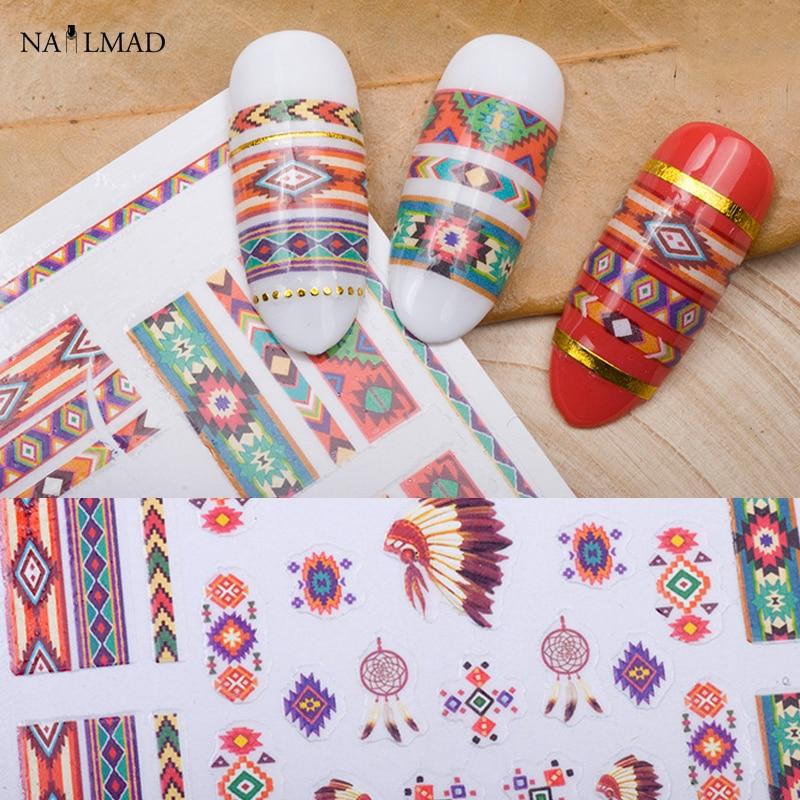 1 sheet Tribal 3D Nail Art Stickers Dreamcatcher Nail Sticker Aztec Nail Stickers Decals direct continental carved 3d nail stickers nail sticker nail art stickers 3d nail stickers xf711