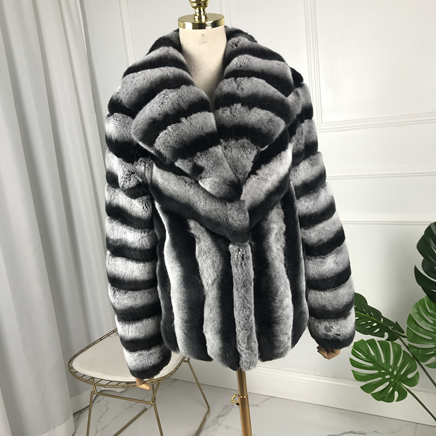2019 new fashion rex rabbit fur coat full sleeves chinchilla color High Quality 100% Genuine Rex Rabbit Fur