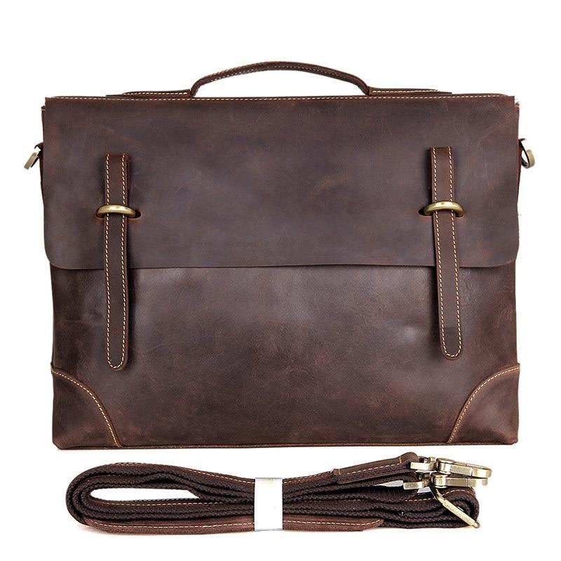 Nesitu Vintage Brown Thick Crazy Horse Genuine Leather Office Men Briefcase 14'' Laptop Portfolios Male Messenger Bags M7228